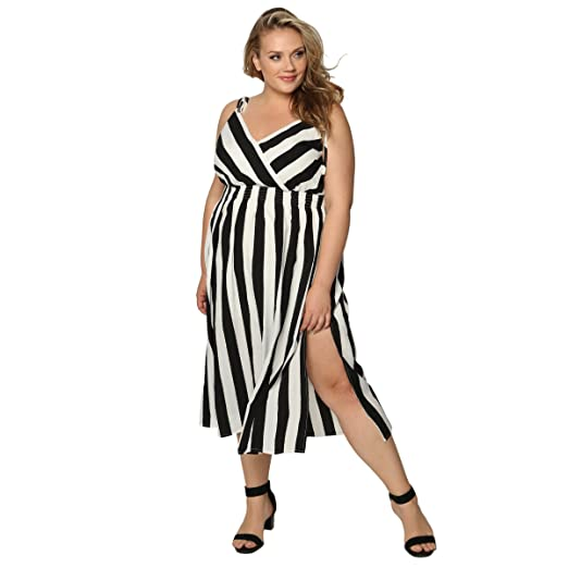 53a853d389e8a Astra Signature Women  s Sexy V Neck Stripe Sleeveless Spaghetti Straps A  Line Elastic Waist Midi Dress at Amazon Women s Clothing store