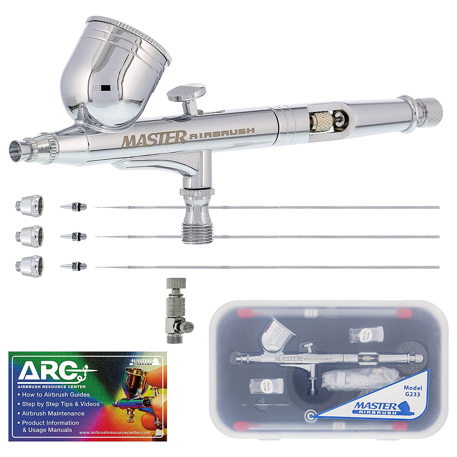 Master Airbrush Master Performance G233 Pro Set with 3 Nozzle Sets (0.2, 0.3 & 0.5mm Needles, Fluid Tips and Air Caps)