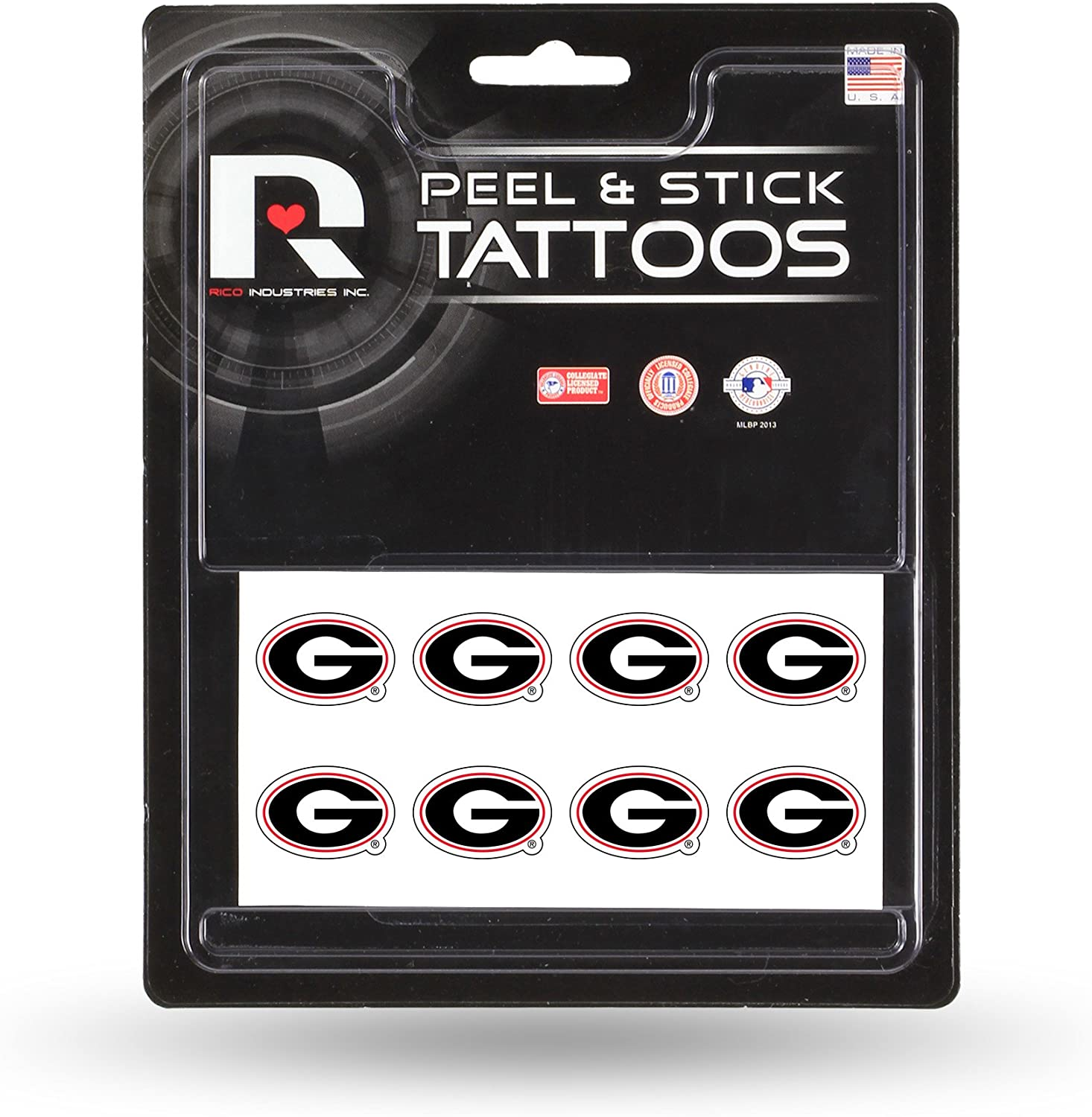 NCAA Rico Industries Face Tattoos, 8-Piece Set, Georgia Bulldogs : Sports Fan Decals : Clothing