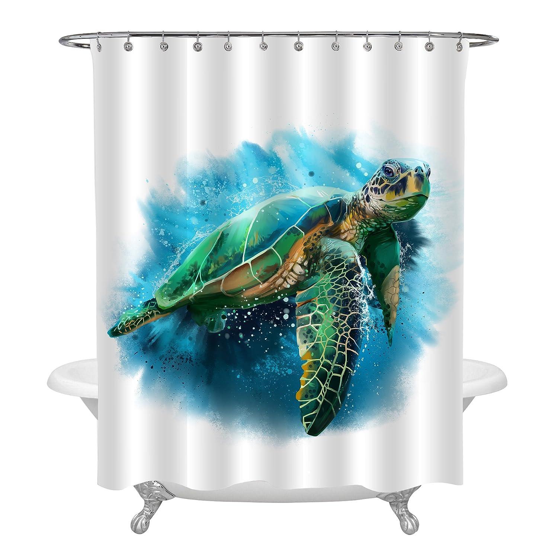 MitoVilla Giant Sea Turtle Shower Curtain Vivid Cute Ocean Animal Art Decor For Bathroom Bathtub Living Room Bedroom Window Green Blue Marine Life