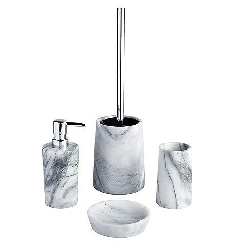 Accessori Bagno In Marmo.Athena 4pc Marmo Accessori Da Bagno Portasapone Liquido Dispenser Bicchiere Scopino