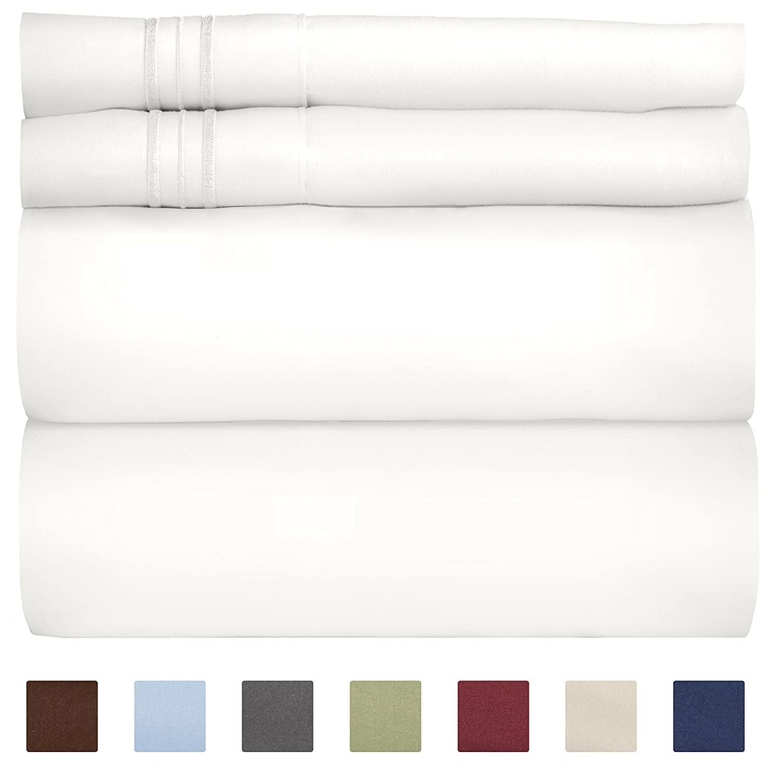 Extra Deep Pocket Sheets - 4 Piece Sheet Set - Deep Pocket Twin Sheets - Extra Deep Pocket Twin Sheets - Deep Fitted Sheet Set - Extra Deep Pocket Twin Size Sheets - Easily Fits Extra Deep Mattresses
