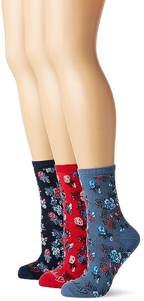 Ruby Rocks 3 Pk Ladies Socks Ruby Rocksblue Floral-Calcetines Mujer