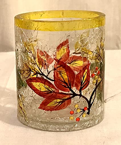 198b8bf957 Amazon.com: New Pier One Autumn Leaves Crackle Glass Tea Light Votive  Candle Holder with Rhinestones: Home & Kitchen
