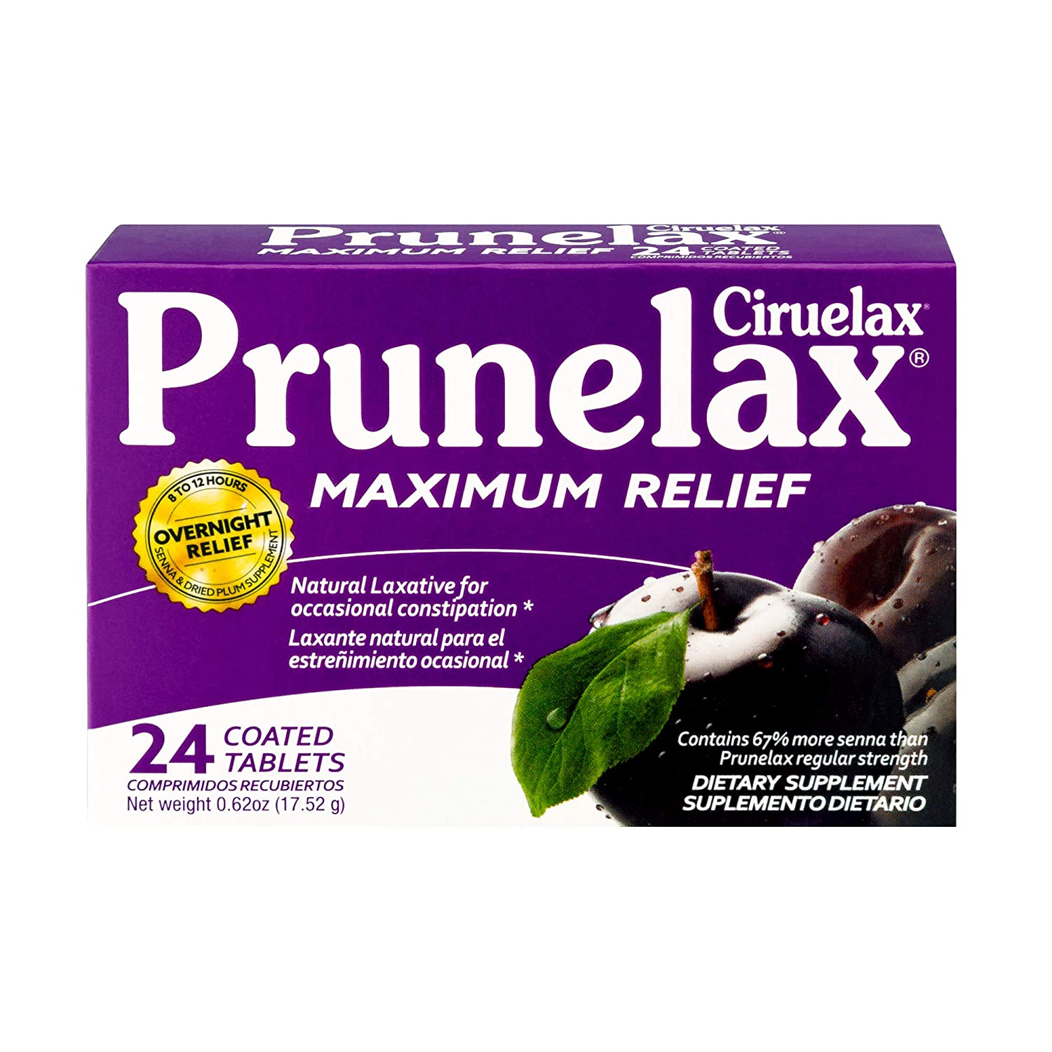 Amazon.com: Prunelax Ciruelax Natural Laxative Maximum Relief Tablets, 24 Count: Health & Personal Care