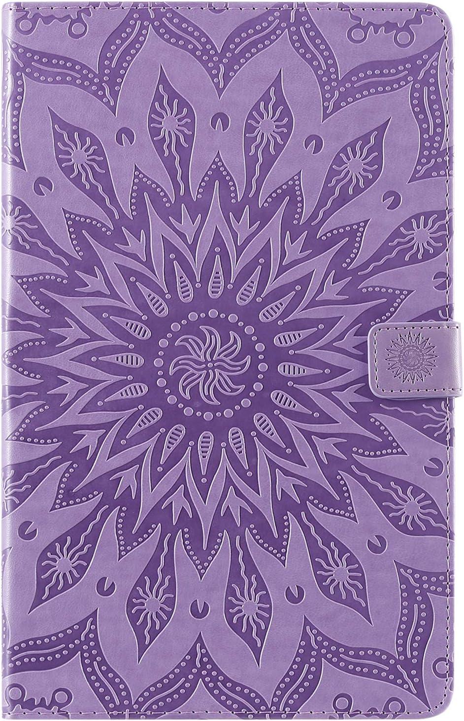 Artfeel Coque pour Samsung Galaxy Tab A 10.1 Pouce 2019 T510,Tournesol en Relief Slim Cuir Portefeuille Support /à Rabat /Étui avec Porte-Carte Fermeture Magn/étique Housse,Fleur Violet