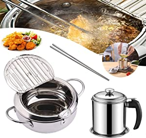 Tempura Deep Frying Pan Japanese-style Deep Fryer Nonstick Stainless Temperature Control Fryer Pot with a Lid for Kitchen Cooking