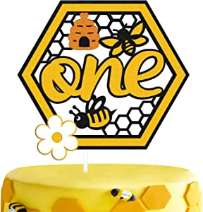 Bee 1st Birthday Cake Topper Bumble Bee Themed One Year Old First Happy Birthday Cake Decorations for Kids Boy Girl Bday Gender Reveal Baby Shower Party Supplies
