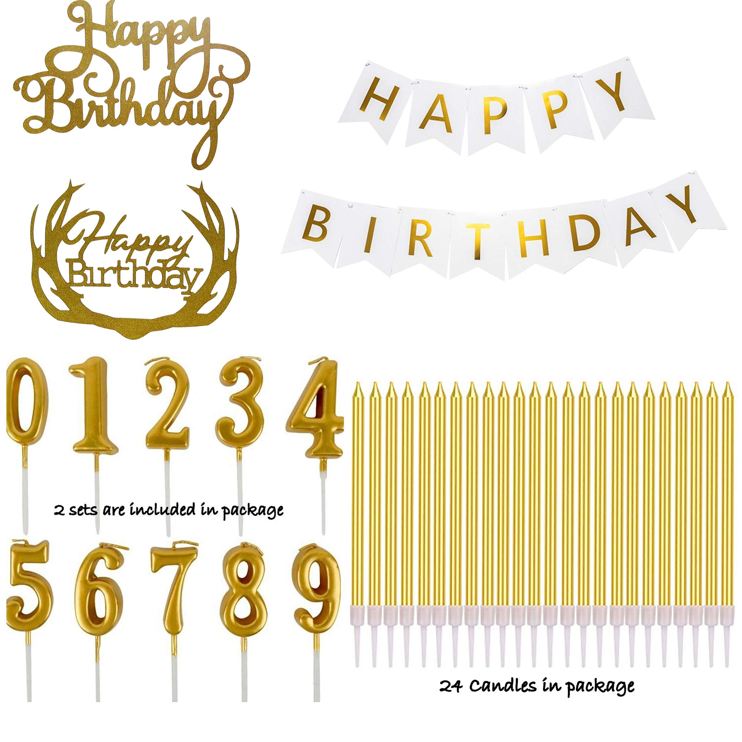 Happy Birthday Banner, Number Candles, Tall Gold Sparkle Candle, Cake Topper - Decorations Party Supplies For Women Men Boys Girls