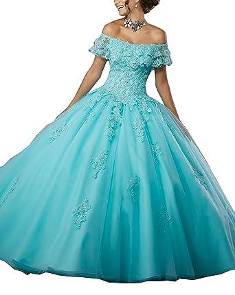 a9fa6f1d3c Amazon.com  Eldecey Women s Off-Shoulder Lace Applique Sweet 16 Prom  Quinceanera Dress  Clothing