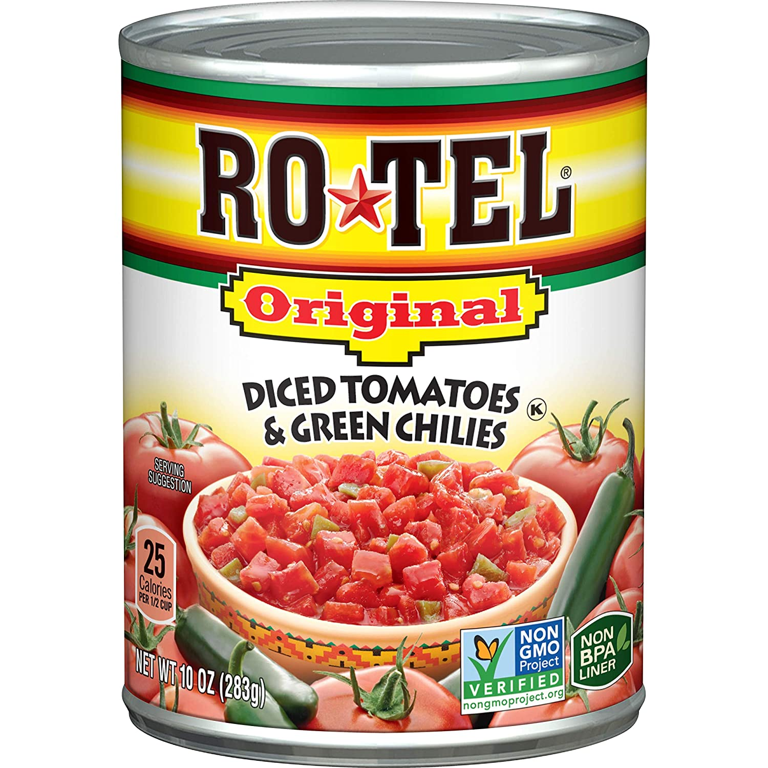 ROTEL Original Diced Tomatoes and Green Chilies, Keto Friendly, 10 Ounce, 24 Pack