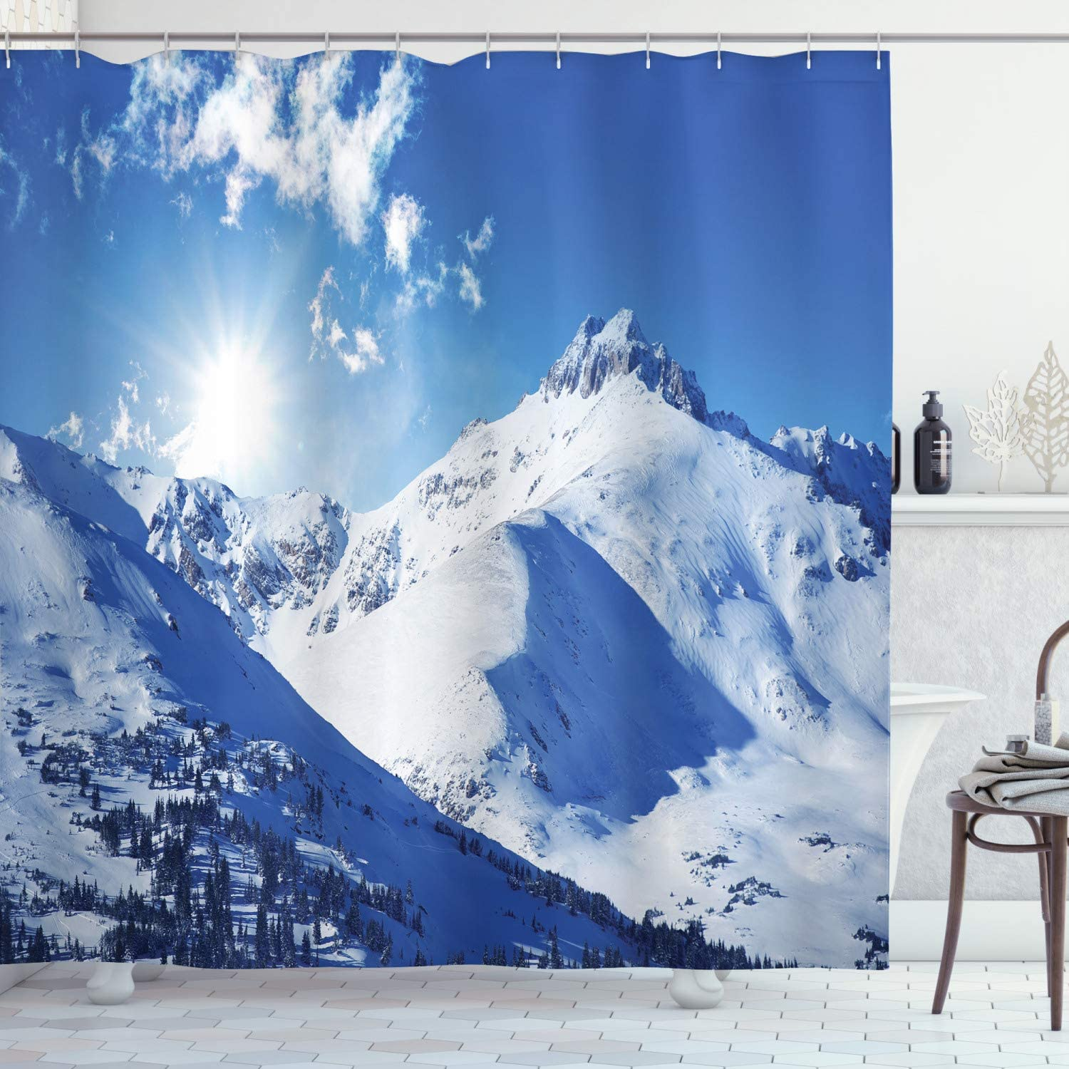 Ambesonne Winter Shower Curtain, Mountain Peaks in Sunny Winter West Northern of States Tranquil Habitat Hike Image, Cloth Fabric Bathroom Decor Set with Hooks, 70