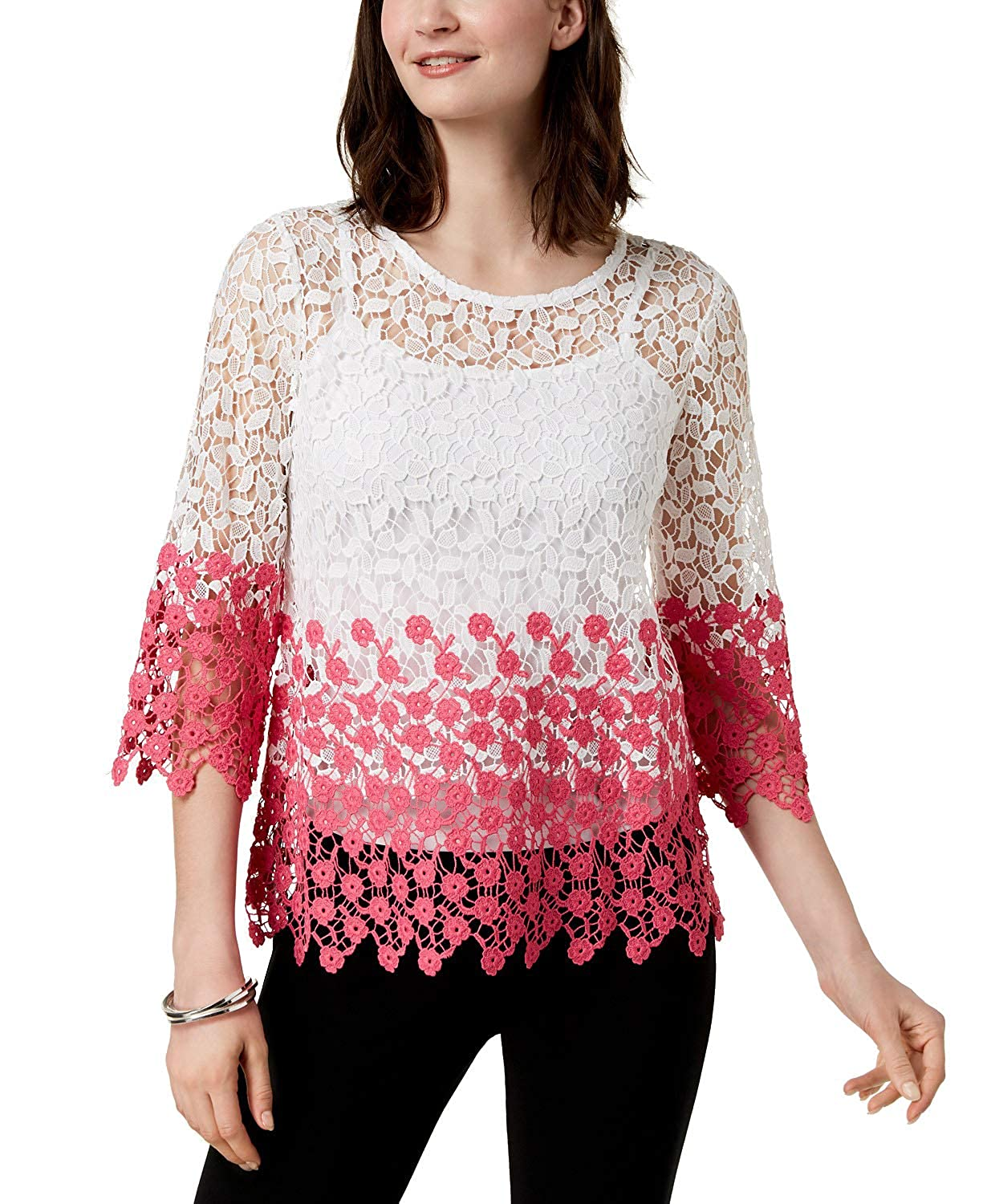 Bright White Charter Club Petite colorblocked Lace Top