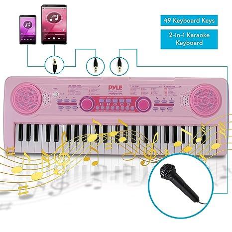Electric Keyboard Piano for Kids-Portable 49 Key Electronic Musical Karaoke  Keyboard, Learning Keyboard for Children w/Drum Pad, Recording,