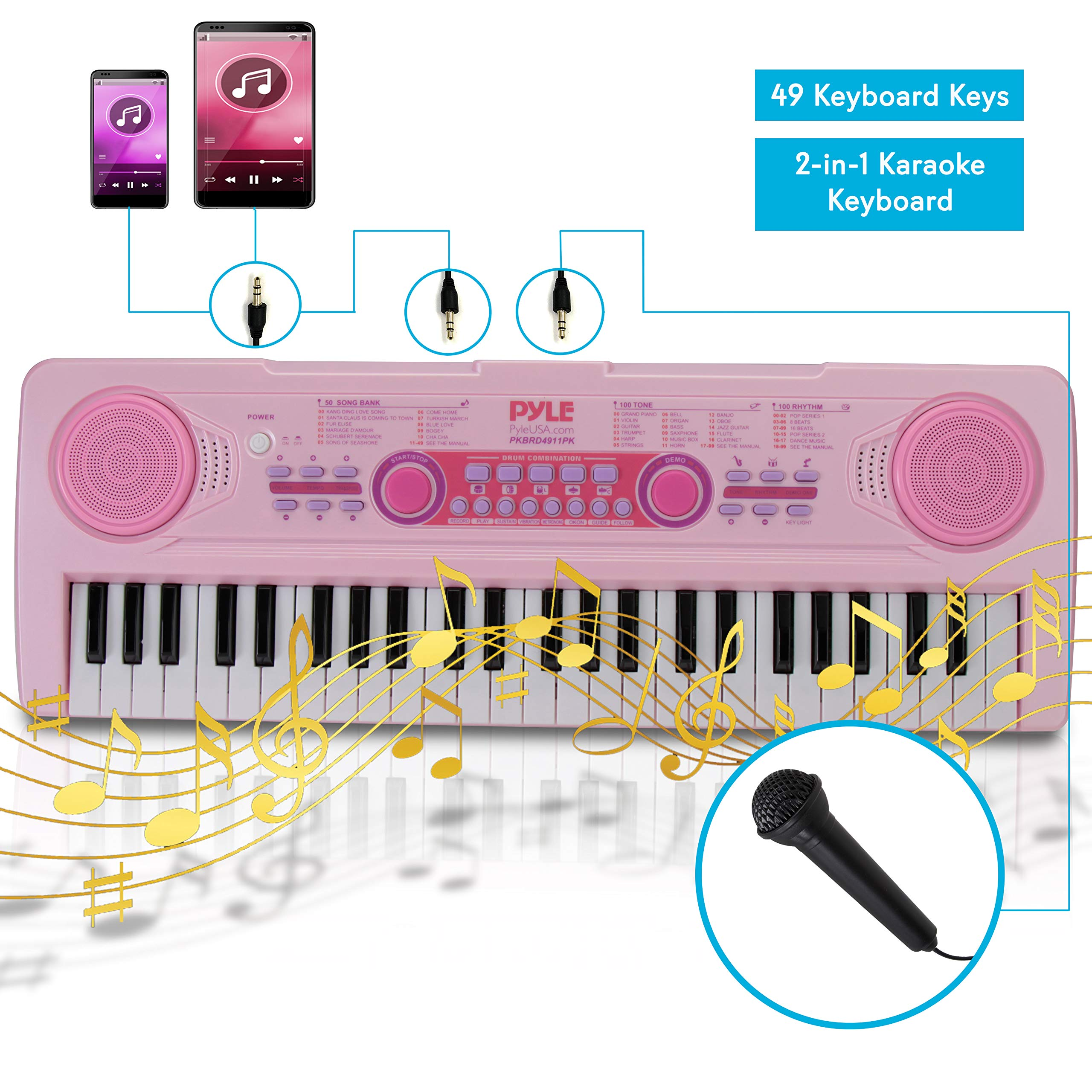 Electric Keyboard Piano for Kids-Portable 49 Key Electronic Musical Karaoke Keyboard, Learning Keyboard for Children w/Drum Pad, Recording, Microphone, Built-in Speaker-Pyle PKBRD4911PK (Pink)