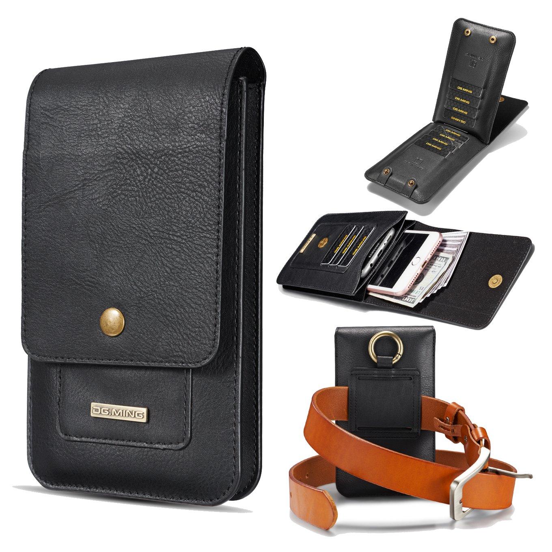 Mens Fashion Leather Waist Belt Bag Small Hook Fanny Waist Bag Hip Bum Pack,Card Slots and Small Messenger Waist Bag Pack 6.2 inch (Black)