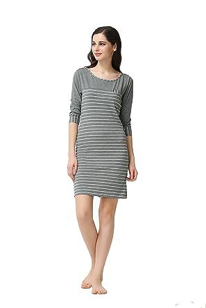 63b1e3436e QIANXIU Women s Sleepwear Cotton Sleep Long Sleeved Sleepshirt Modal Cotton  Knit Stripes Nightshirt