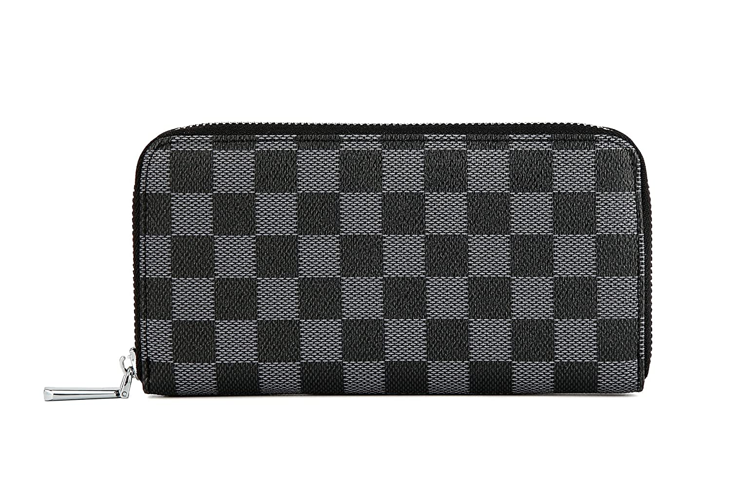 a49f02e9a923 Daisy Rose Women s Checkered Zip Around Wallet and Phone Clutch - RFID  Blocking with Card Holder Organizer -PU Vegan Leather