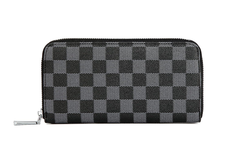 447abba8b Daisy Rose Women's Checkered Zip Around Wallet and Phone Clutch - RFID  Blocking with Card Holder Organizer -PU Vegan Leather
