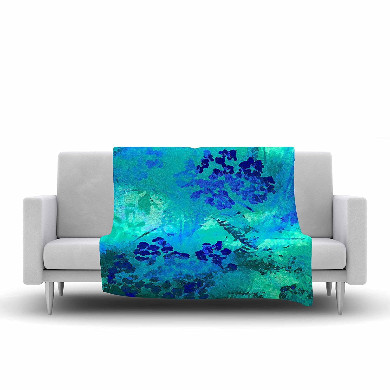 40 X 30 40 by 30-Inch Kess InHouse Nina May Wildflower Blue Teal Blue Fleece Throw Blanket