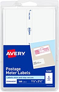 AVERY Postage Meter Labels 1-1/2 x 2-3/4, Pack of 160 (5288), White