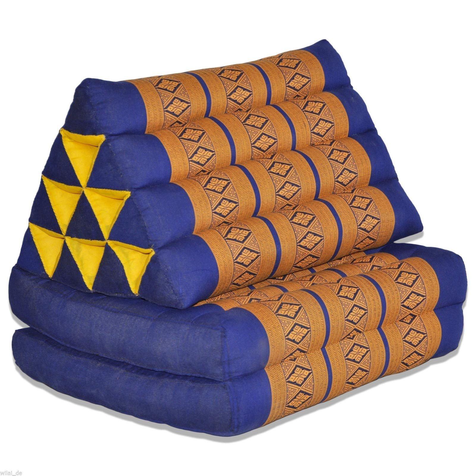 Tungyashop@thai Traditional Cushion Kapok Mattress (Yellow-blue, 2 Fold)