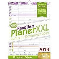 FamilienPlaner XXL 2019 33x44cm, 7 Spalten, Wandkalender 12 Monate Jan-Dez 2019 - Wandplaner, Familienkalender, Ferientermine, viele Zusatzinfos