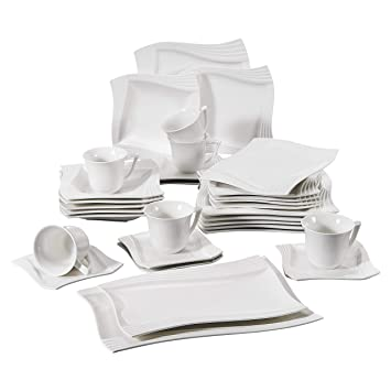 30-Piece Square Cream White Porcelain Dinner Combi-Set with 6-Piece Cups 6-Piece Saucers 6-Piece Dessert Plates 6-Piece Soup Plates and 6-Piece Dinnerware Service Set for 6 Series Monica MALACASA