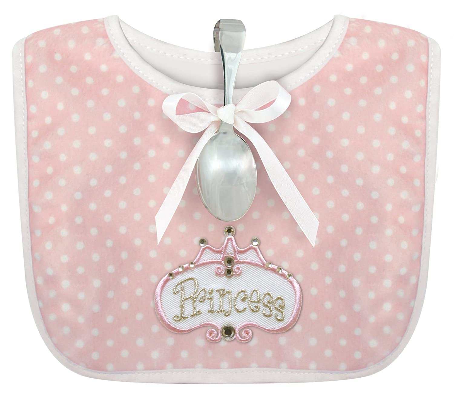 Stephan Baby Infant Girl Polka Dot Bib and Silver Plated Bent-Handled Spoon Gift Set, Little Princess 824503