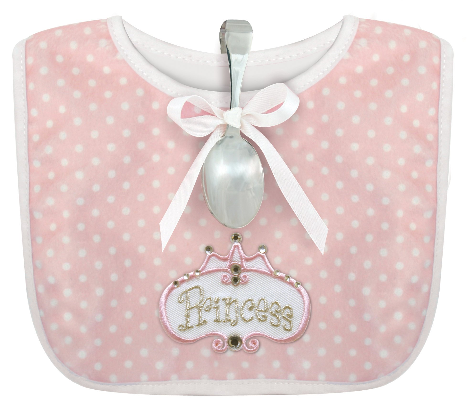 Stephan Baby Infant Girl Polka Dot Bib and Silver Plated Bent-Handled Spoon Gift Set, Little Princess by Stephan Baby
