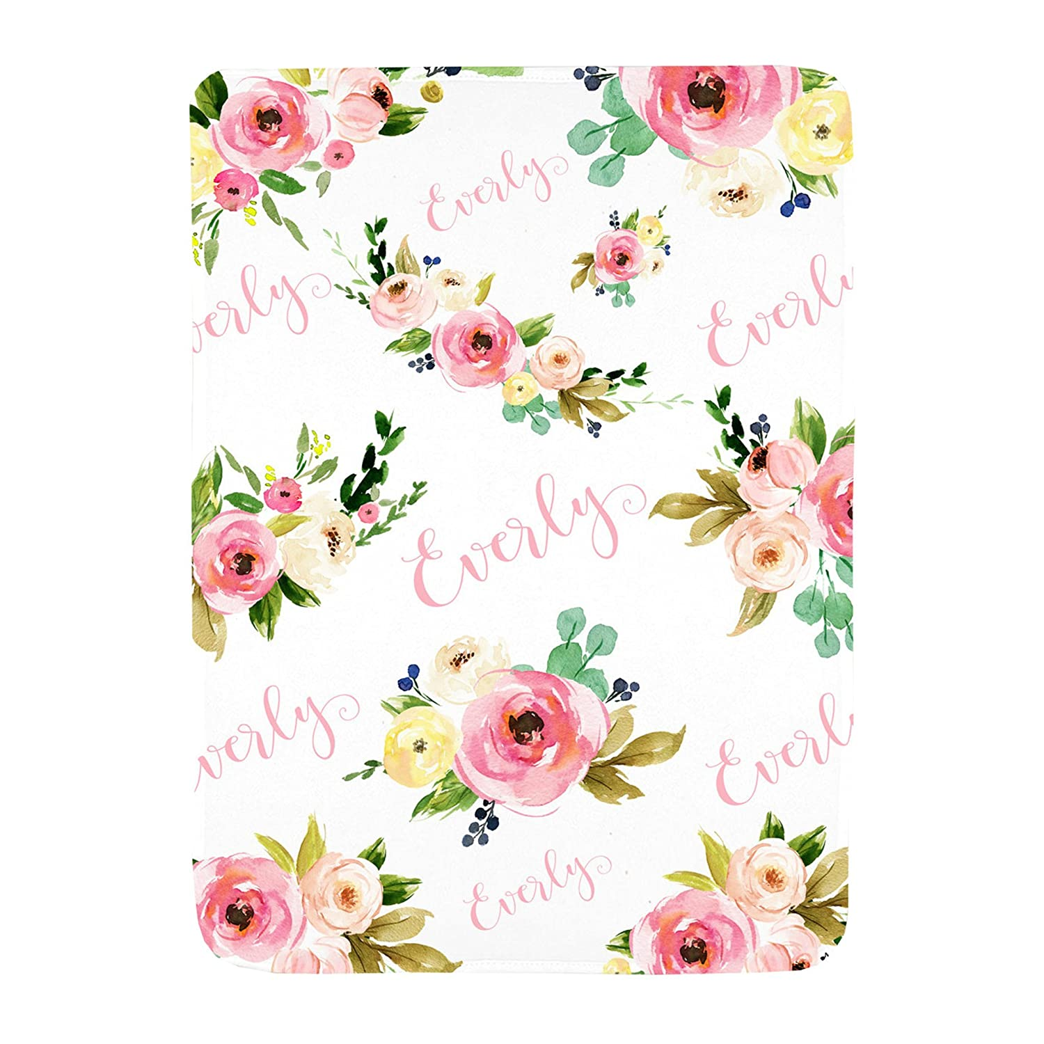 Sobilar Personalized Floral Baby Blanket, Personalized Baby Blanket, Baby Shower Gift, Swaddle Blanket, Baby Girl Gift