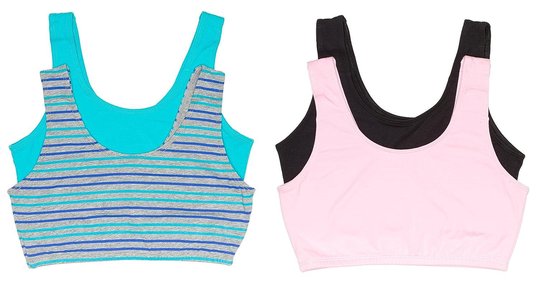 Pack of 4 Trimfit Big Girls Crop Top Bras with Built up Straps