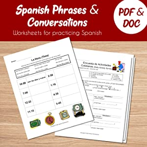 Spanish Phrases And Conversations Worksheets