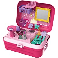 WenToyce Pretend Play Make up Kit Little Girls Dress-up Fake Cosmetic Set with Storage Backpack Box-No Mess Kids Beauty…