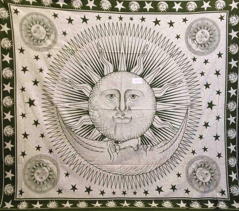 Telo Copritutto Grande Sole Luna Sabbiato 100/% Cotone Indiano Stampato 215x240 cm Blu