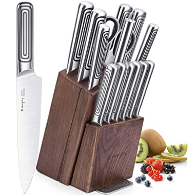 Emojoy Knife Set, 15-Piece Kitchen Knife Set with Block, Stainless Steel Hollow Handle for Chef Knife Set, German Stainless Steel, Emojoy (Steel)