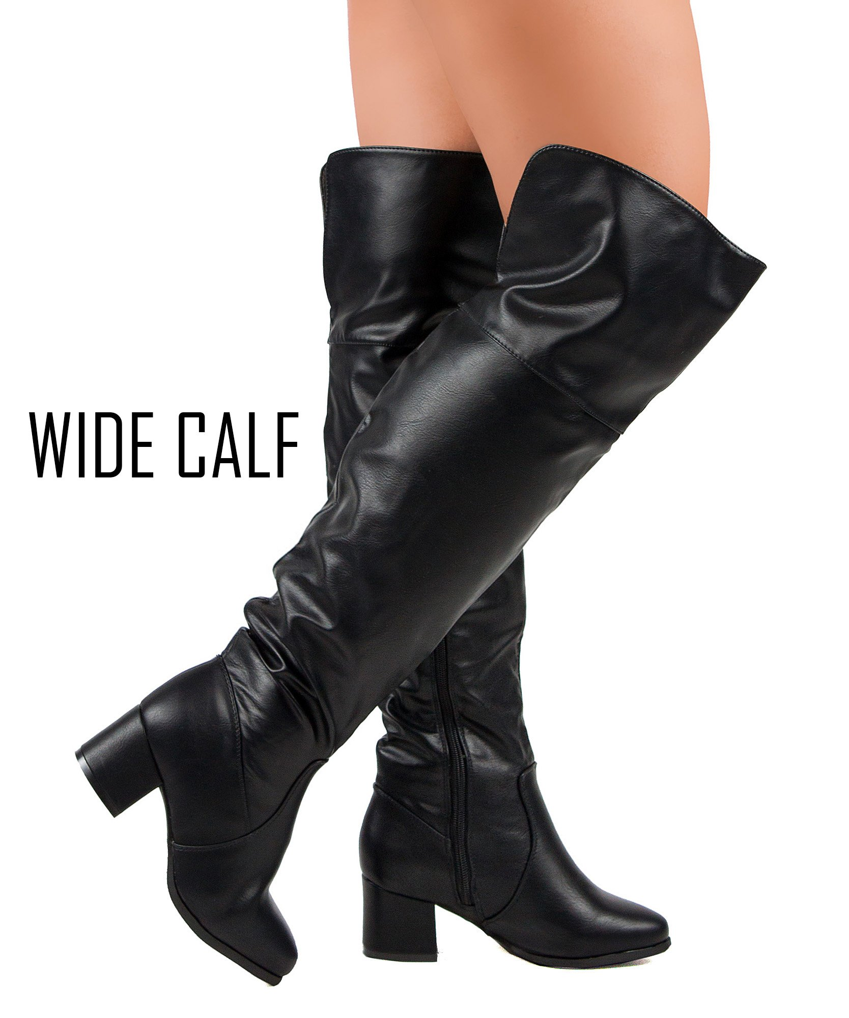 RF ROOM OF FASHION Paris-32 Faux Leather Fitted Low Chunky Stacked Heel Over The Knee High Thigh High Boots Black -Wide Calf (8.5)