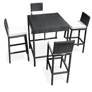 JOM Bar de Jardin polyrattan, Table Haute, Table Bistro, Set de ...