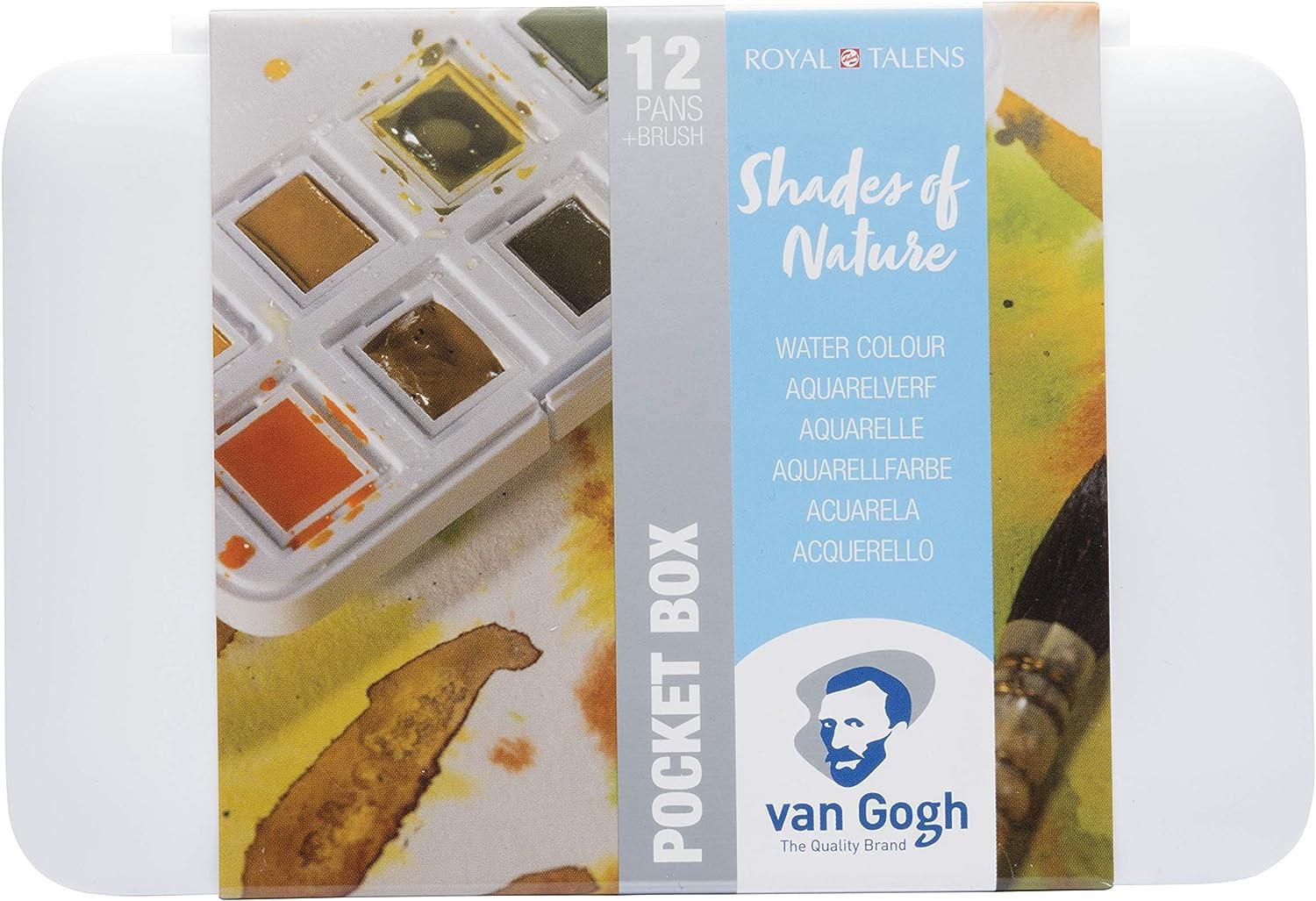 Van Gogh Watercolor Paint Set, Plastic Pocketbox, 12-Half Pan Shades of Nature Selection