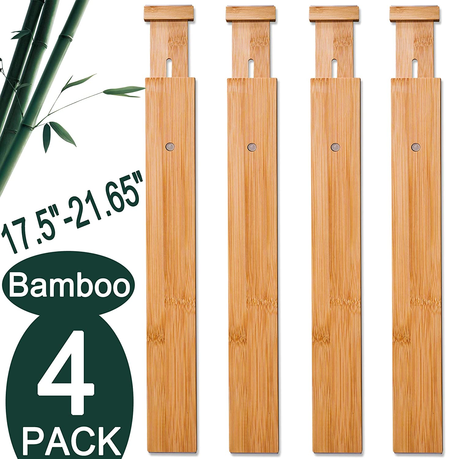 "4 Pack Bamboo Drawer Dividers, Spring Loaded Adjustable Drawer Separators (2.1"" High, 17.5""-21.65""), Perfect Expandable Wooden Drawer Dividers for Kitchen, Bedroom, Bathroom, Dresser & Office"