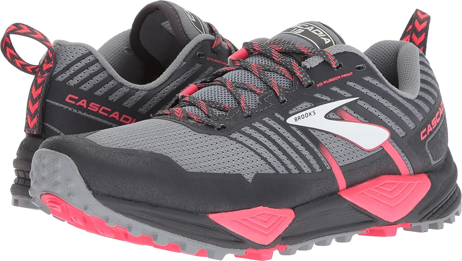 Brooks Womens Cascadia 13 B07889X89J 7 B(M) US|Grey/Grey/Pink