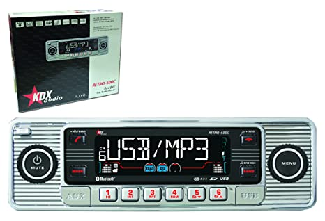 KDX Audio Retro 600 - Radio para coche (USB, CD, SD) color