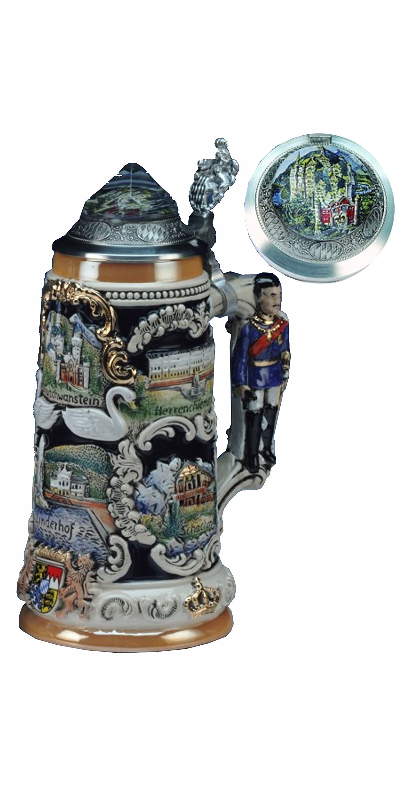 German Beer Stein Bavarian Castle Stein, King Ludwig 3-D handle, Neuschwanstein Crystal lid 0.75 liter tankard, beer mug
