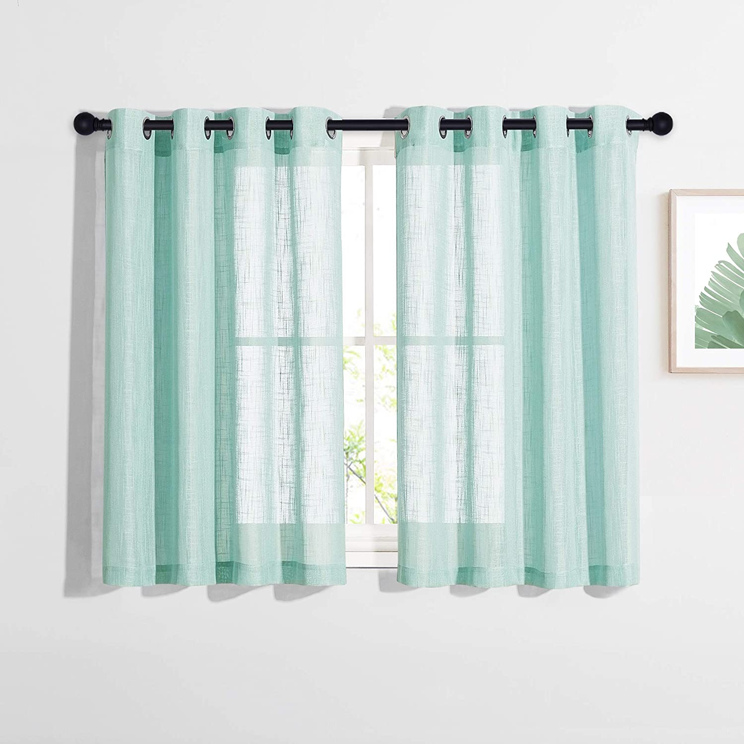 NICETOWN Rustic Faux Linen Voile Bedroom Sheer Curtains, Grommet Home Decoration Semi Sheer Privacy Window Treatments Panels for Children Room (Ocean Wave, 52 by 45 inches Long, 1 Pair)