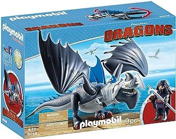 Cómo entrenar a tu dragón-Drago y Thunderclaw con Accesorios Muñecos y figuras, color azul, gris, 34,8 x 12,5 x 24,8 cm Playmobil 9248: Amazon.es: Juguetes y juegos