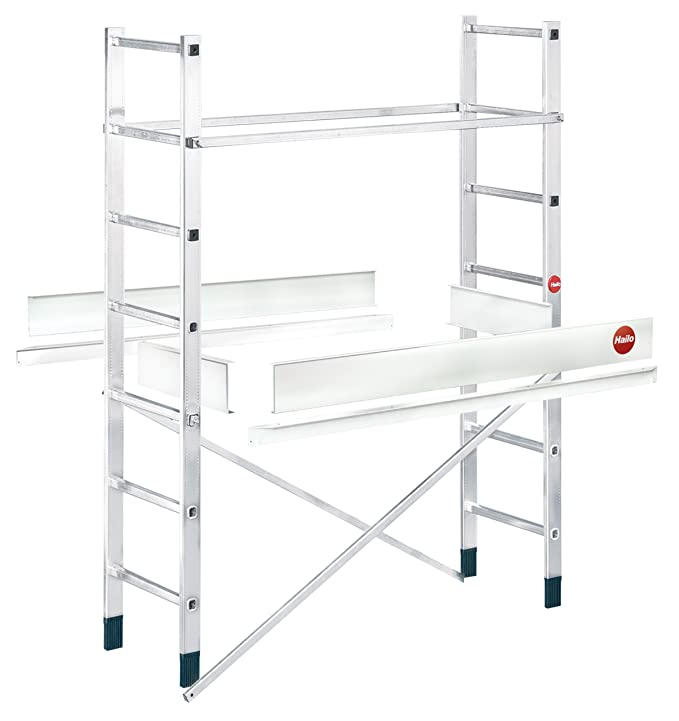 Hailo ProfiStep multi, Alu-Leitern-Gerüst Zusatzelement (nur mit Grundelement verwendbar), Arbeitshöhe: 500 cm, made in Germa