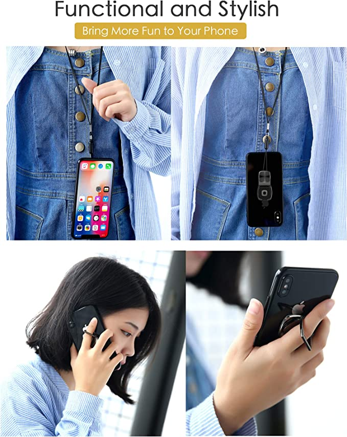 Rose Gold Liv2Fun Multifunctional Wearable Detachable Phone Ring Stand Grip with Anti-Theft Lanyard Neck Strap Loop Compatible with Magnetic Phone Car Mount