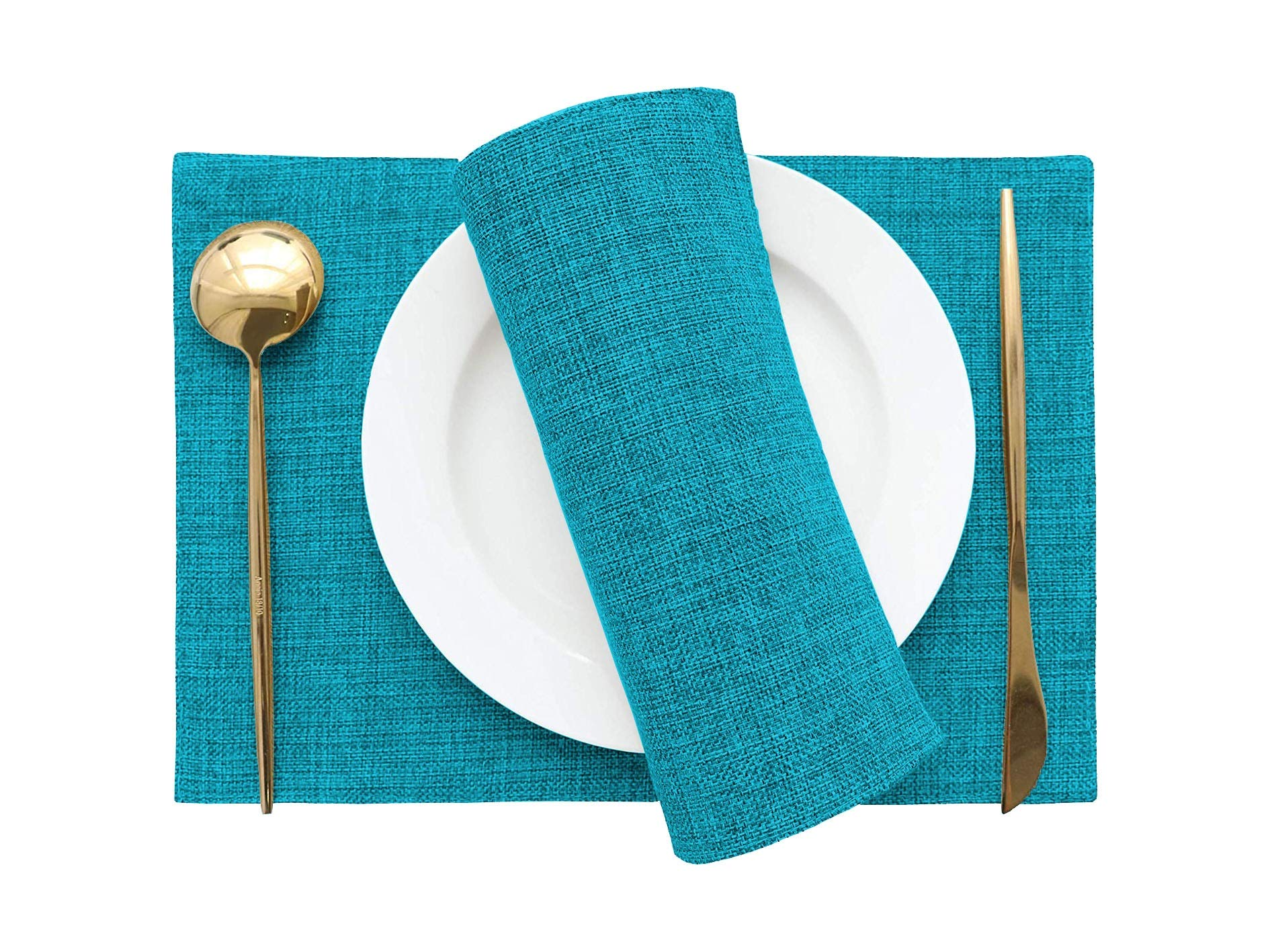 Khooti Jute Tablemats/Placemats Set of 4 Heat Resistant Dining Table Place Mats for Kitchen Table Party, 12 x 18 inches, (Bondi Blue) (B07Y2DZ5B2) Amazon Price History, Amazon Price Tracker