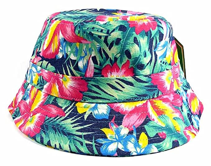 43357f5e8ad Image Unavailable. Image not available for. Color  Green Tropical Floral  Print Bucket Hat