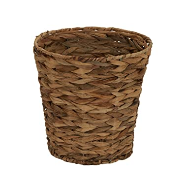 Household Essentials ML-6692 Woven Water Hyacinth Wicker Waste Basket | For Bathrooms & Bedrooms | Natural